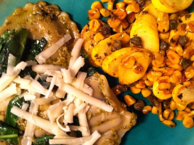 Spinach Pesto Ravioli, Summer Squash and Corn