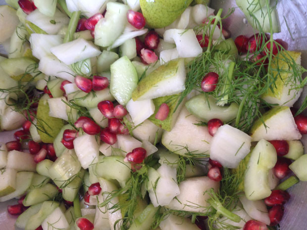 Cucumber Pear Fennel Pomegranate Salad