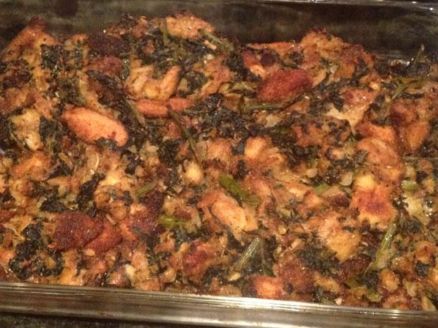 Thanksgiving 2012, kale stuffing